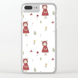 Little Red Riding Hood Girl with Antlers Clear iPhone Case
