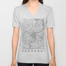 Shanghai Map Line Unisex V-Neck