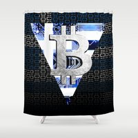 greece Shower Curtains featuring bitcoin Greece by seb mcnulty