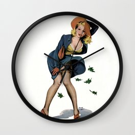 Pin-Up Beauty on Windy Day by Peter Driben Wall Clock