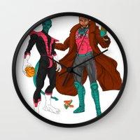 nightcrawler Wall Clocks featuring Parkcrawler and Ginobilit by Joey Cienian