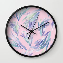 Succulent Pattern Pink- watercolor Wall Clock