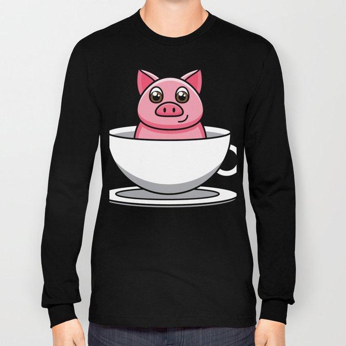 tea cup pig Bacon present Cartoon Comic funny Long Sleeve T-shirt