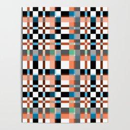 Blue white orange geometric pattern . Poster