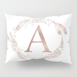 Letter A Rose Gold Pink Initial Monogram Pillow Sham