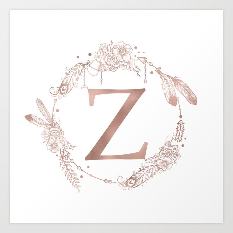Letter Z Pictures.Letter Z Rose Gold Pink Initial Monogram Art Print