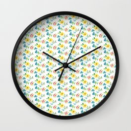 Hand painted pink yellow teal watercolor flowers Wall Clock