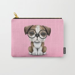 Cute English Bulldog Puppy Wearing Glasses on Pink Carry-All Pouch