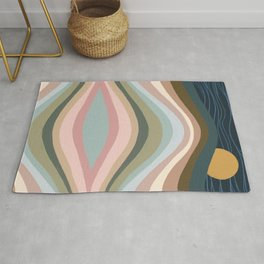 Abstraction Landscape Rainbow Wave Night Rug