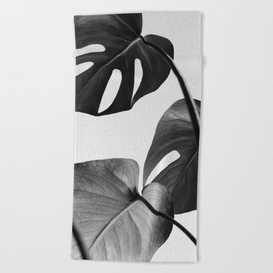 Black & white Monstera Beach Towel