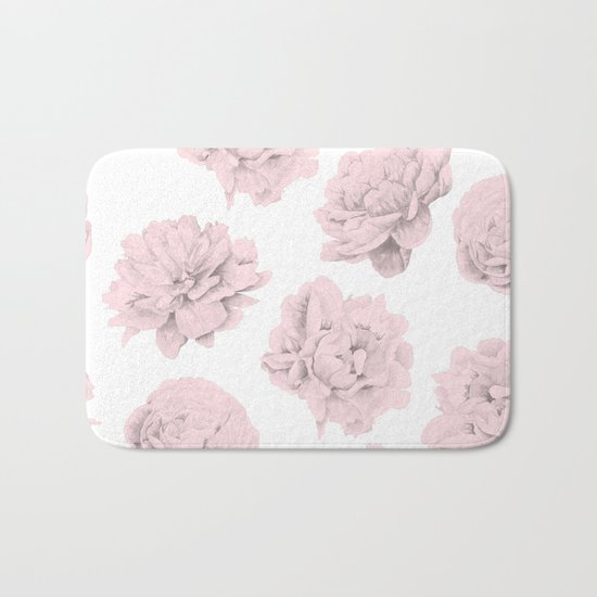 Simply Roses in Pink Flamingo Pink on White Bath Mat