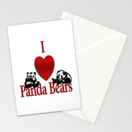 I Heart Panda Bears Stationery Cards