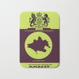 Vintage Dorset map cover. Bath Mat