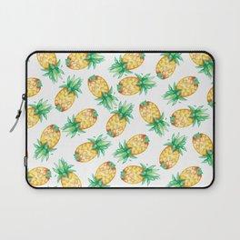 Tropical sunshine yellow green watercolor pineapple Laptop Sleeve