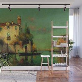 Gondolier à Venise - Venice, Italy landscape painting by Antonie Bouvard Wall Mural