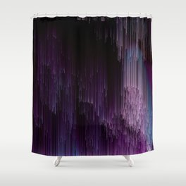 Darkness Glitches Out - Abstract Pixel Art Shower Curtain