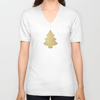 gold glitter V-neck T-shirts featuring Gold Glitter Christmas Tree by A Little Leafy