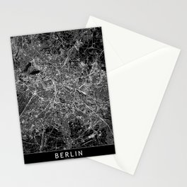 Berlin Black Map Stationery Cards