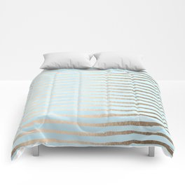 Abstract Stripes Gold Tropical Ocean Sea Turquoise Comforters