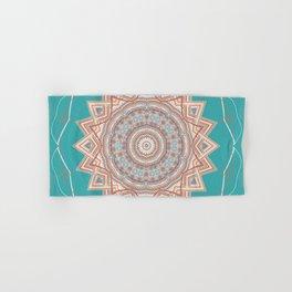 Bright Aqua Star Mandala Design Hand & Bath Towel