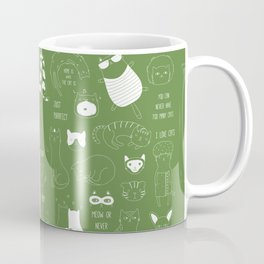 Cute Cat Doodles on pink and green Coffee Mug