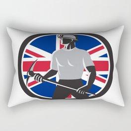 British Coal Miner Union Jack Flag Icon Rectangular Pillow