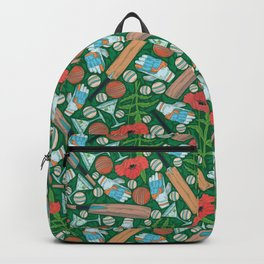 Cricket bat and gloves with balls among red poppies and cocktails Backpack