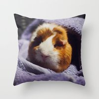 guinea pig Throw Pillows featuring My brothers guinea pig by Jamie de Leeuw