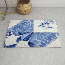Abstract Delftware blue wall tiles Rug
