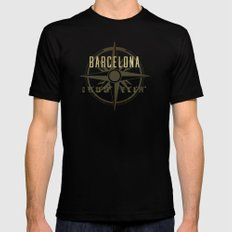 Barcelona - Vintage Map and Location Mens Fitted Tee Black MEDIUM