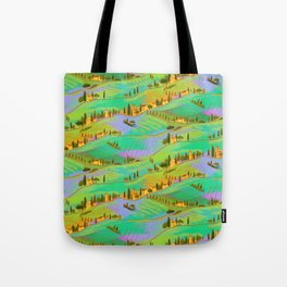 Italian vacations, pattern with Tuscany landscapes Tote Bag
