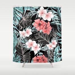 Black & Rose Gold Pink Island Paradise Shower Curtain