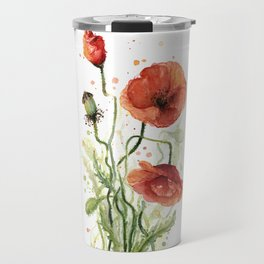 Red Poppies Watercolor Travel Mug