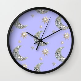 Vintage pearl button moon and stars on blue Wall Clock