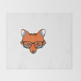 Smart Fox With Glasses Fox Lover Gift Throw Blanket