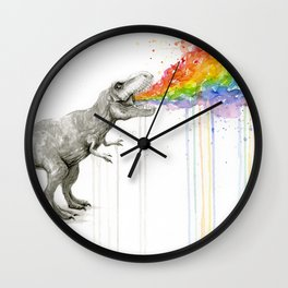 T-Rex Rainbow Puke - Facing Right Wall Clock