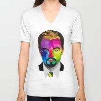 leonardo dicaprio V-neck T-shirts featuring Leonardo DiCaprio - popart portrait by Dep's