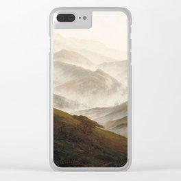 Mountain with Ascending Mist by Caspar David Friedrich Clear iPhone Case
