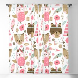 Pink Boho Animals Blackout Curtain