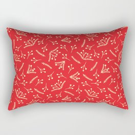 Christmas Branches and Berries in red and yellow Rectangular Pillow