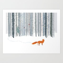 Fox in the white snow winter forest illustration Art Print