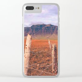 Iceland Mountain Landscape; Farm Fence Clear iPhone Case