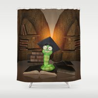 bookworm Shower Curtains featuring Cute bookworm by nicky2342