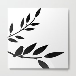 Bird and Branches Silhouette Metal Print