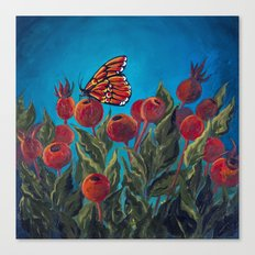 Butterfly in Rose Hips Canvas Print