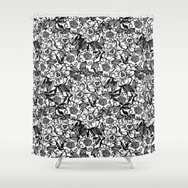Ella - abstract floral flowers minimal modern black and white girly gender neutral boho painting Shower Curtain