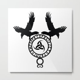 Raven - Triple Horn of Odin Metal Print