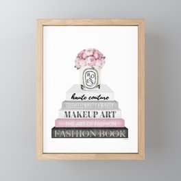 Blush, Pink, Fashion books, Peony, Peonies, Pink and Gray, Gray, Books, Fashion books, Fashion Framed Mini Art Print