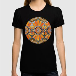 Celebrating the 70's - tangerine orange watercolor on grey T-shirt
