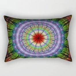 Groovy painterly mandala with tribal patterns Rectangular Pillow